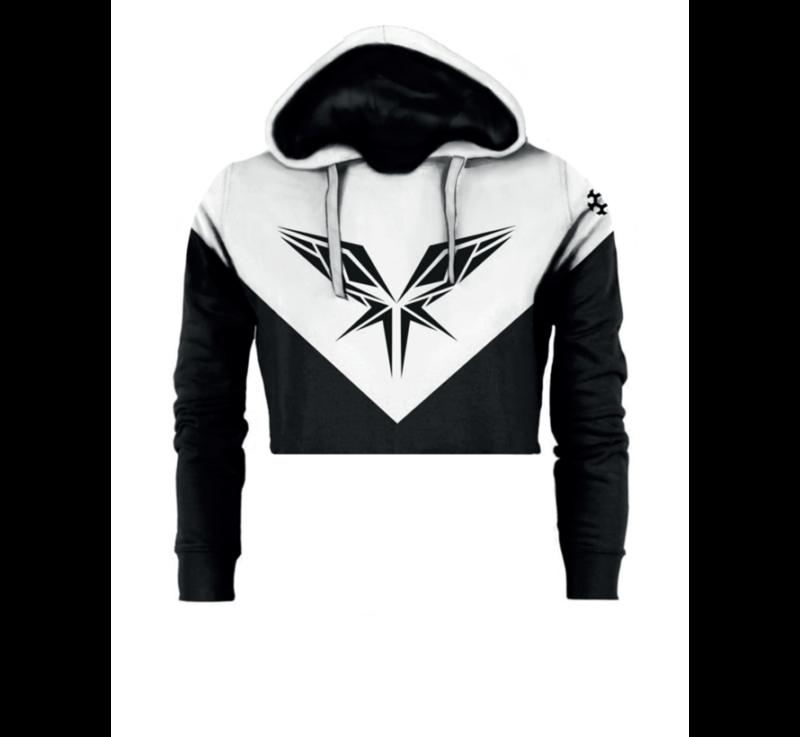 Black/white cropped hoody